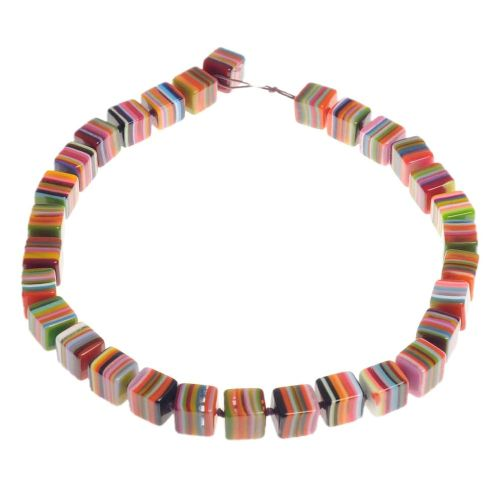 Jackie Brazil Liquorice cube necklace in Mix Colours (B)
